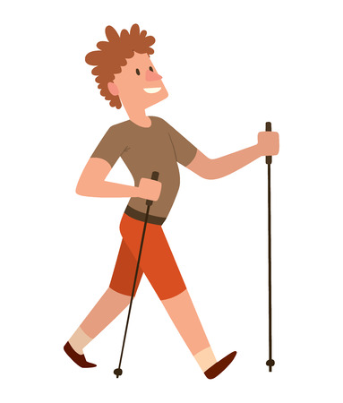 jogging park: Nordic walkers vector character fun leisure happy people. Nordic walking sport healthy lifestyle exercise leisure. Hiking recreation training nordic walking sport active people. Illustration