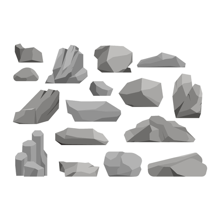 cobble: Stones and rocks in cartoon style big building mineral pile. Boulder natural rocks and stones granite rough. Vector illustration rocks and stones nature boulder geology gray cartoon material. Illustration