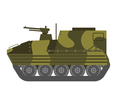 vehicle combat: Self propelled artillery isolated with road fragment and military vehicle isolated. Tank isolated defense, heavy, soviet forces and isolated combat track transportation history barrel. Illustration