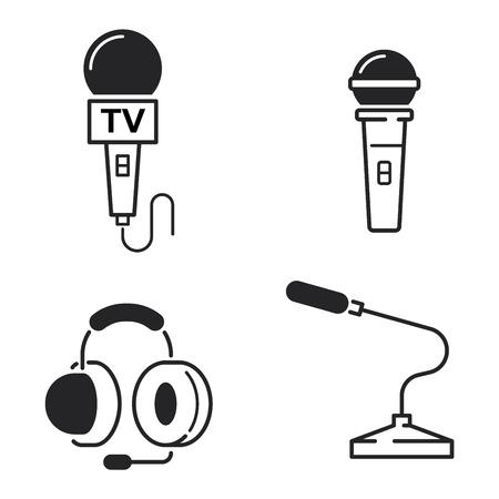 Mikrofon Vektor-Icon-Darstellung Auf Weißem Hintergrund. Vector ...