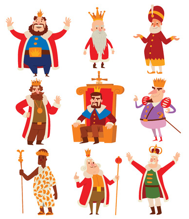 scepter: King cartoon illustration set. Fantasy royalty medieval kings cartoon monarch fun comic set. Fairytale prince costume kings cartoon, different kingdom male vector character with gold crown.