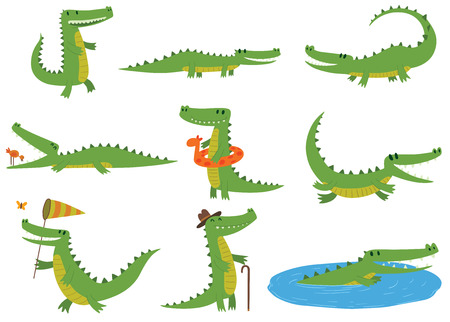 Cartoon crocodiles characters different green zoo animals. Cute crocodile character doodle animal with bath toy and white teeth. Happy predator crocodile character mascot comic color vector icon. Stock Illustratie
