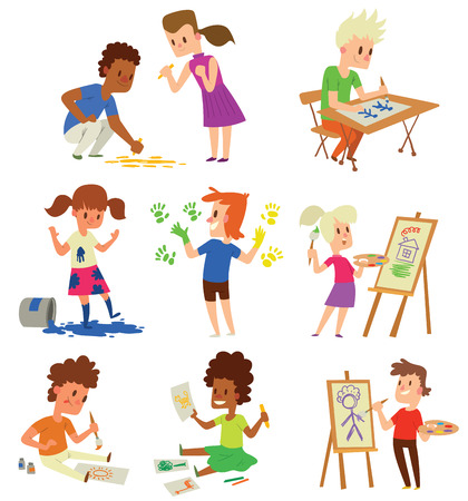 blank canvas: Boy and girl artist kids children. Education artist kids children painting around blank canvas with space for text. Creative little artist kids children preschool colorful characters vector. Illustration
