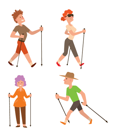 Group of nordic walkers vector character set fun leisure happy people. Nordic walking sport healthy lifestyle exercise leisure. Hiking recreation training nordic walking sport active people. Stock Illustratie