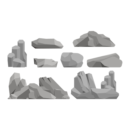 Stones and rocks in cartoon style big building mineral pile. Boulder natural rocks and stones granite rough. Vector illustration rocks and stones nature boulder geology gray cartoon material. 일러스트