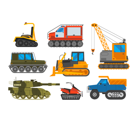 excavation: Tracked excavator vector illustration isolated on white background. Construction industry machinery caterpillar equipment tractor. Bulldozer vehicle transportation caterpillar equipment tractor.