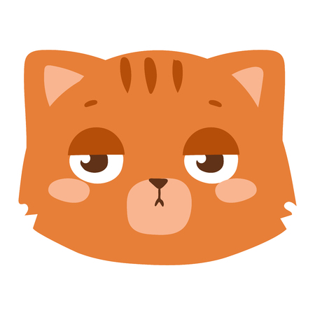 mammal: Cute animal cat head emotion vector avatar. Cartoon happy cat kitty animal emotion expression isolated face character. Adorable mammal emojji avatar animal emotions. Animal cat character Illustration