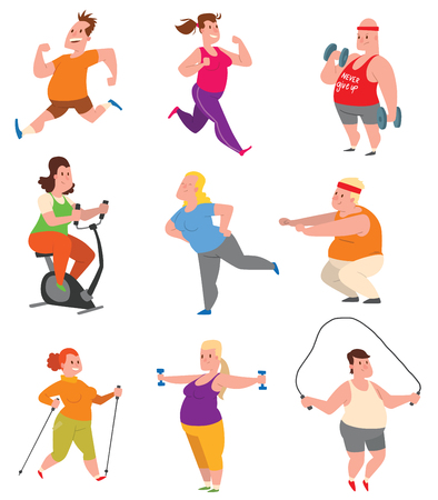 Vector sport and fat people fitness gym color flat icon workout set. Fat people fitness gym fat exercise health workout. Healthy young male and female fit obese lifestyle fat people fitness gym.