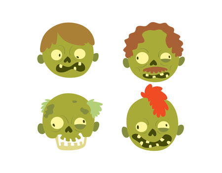 Zombie head cartoon monster character scary flat vector illustration. Zombie head smile spooky man. Portraip of cartoon moster zombie vector. Halloween kids style image of zombie hand Illustration