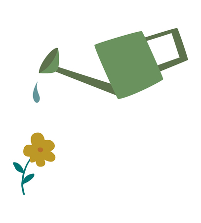 horticulture: Watering can flowers plant concept nature summer blooming vector. Nature watering can flower plant and colorful watering flower. Botany outdoors horticulture watering flower, growth concept Illustration
