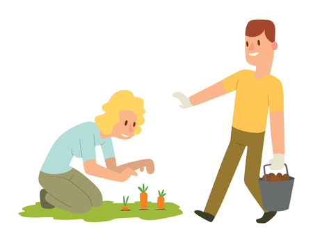 picking: Picking fresh vegetable in garden people character. Agriculture farm green garden harvest people organic outdoors agriculture people. Happy growth garden harvest working people. Illustration