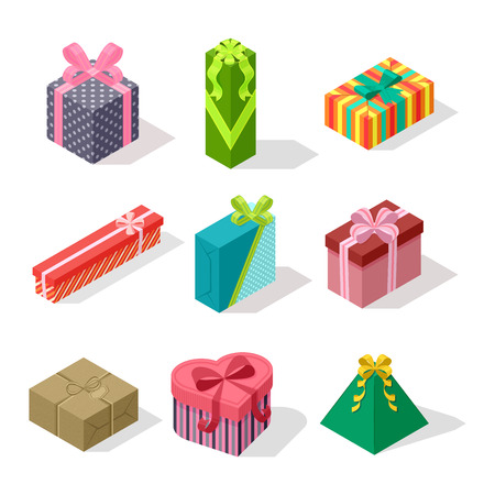 surprise box: Vector gift box isometric view cardboard container pack. Gift box carton package paper. Gift box celebration holiday isometric receive icon. Some holiday celebrate gift box isolated