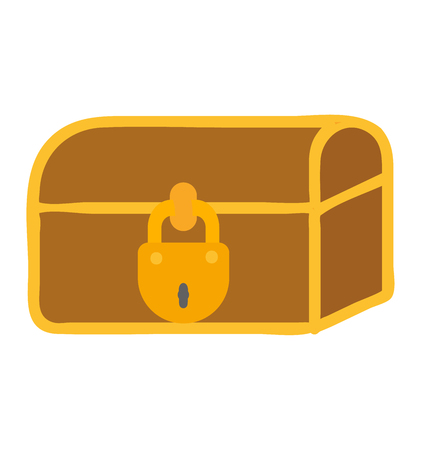 Wooden treasure chest golden coins vector illustration. Treasure chest isolated on white. Treasure chest box gold old isolated box and wealth antique, money save chest.
