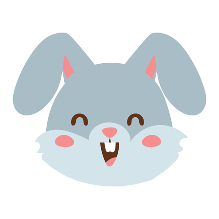 mammal: Cute animal rabbit head emotion vector avatar. Cartoon happy rabbit animal emotion expression isolated face character. Adorable mammal emojji avatar animal emotions. Animal rabbit character Illustration