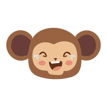 emotion expression: Cute animal monkey head emotion vector avatar. Cartoon happy monkey animal emotion expression isolated face character. Adorable mammal emojji avatar animal emotions. Animal monkey character