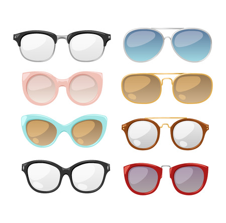 eyewear fashion: Vector glasses isolated on white background. Hipster fashion glasses. Glasses tool for human face isolated vector illustration