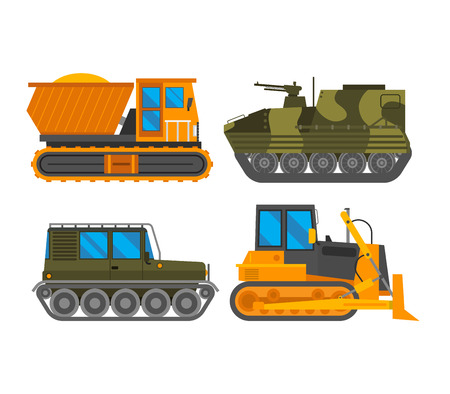 quarry: Tracked excavator vector illustration isolated on white background. Construction industry machinery caterpillar equipment tractor. Bulldozer vehicle transportation caterpillar equipment tractor.