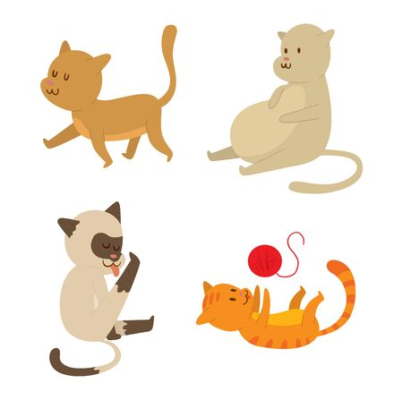 Cat cartoon style vector silhouette. Cute domestic cat animal playfull. Cartoon cat young adorable tail symbol playful. Cartoon funny domestic pussy kitty character Illustration