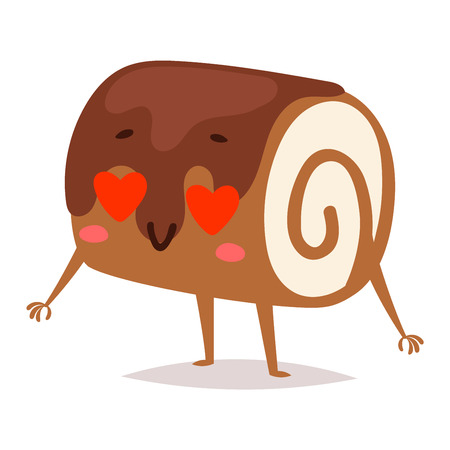 Sweet emotion lovely dessert character dessert icon, cute cake, adorable candy, sweet food character. Sweet emotion girly cookie. Confectionery caramel sweet emotion. Food character carton style Illustration