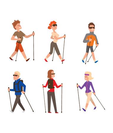 Groep van nordic walkers vector tekenset leuke vrijetijdsbesteding gelukkige mensen. Nordic walking sport gezonde levensstijl oefening ontspanning. Wandelen recreatie training nordic walking sport actieve mensen.