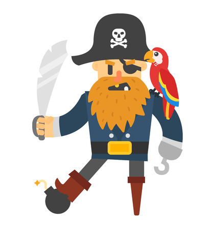 piracy: Cartoon pirate vector character isolated on white. Cartoon pirate character. Funny cartoon pirate happy sailor boy costume. Fantasy kid adventure sea treasure man.