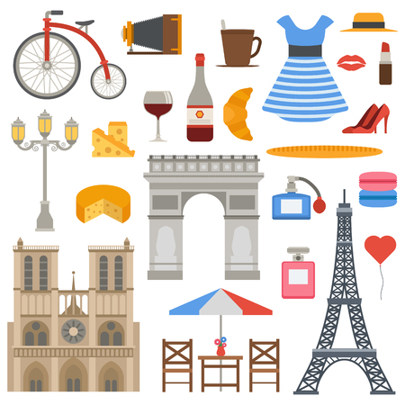 capital building: Icons set Paris cuisine traditional modern culture. Europe Eiffel Paris icons fashion wine building design architecture. Famous travel love Paris icons monument capital landmark. Illustration