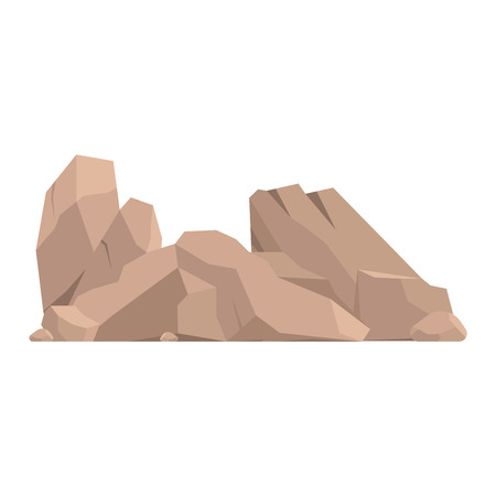 Stones and rocks in cartoon style big building mineral pile. Boulder natural rocks and stones granite rough. Vector illustration rocks and stones nature boulder geology gray cartoon material. Stock Illustratie