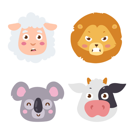 lion and lamb: Cute animals head emotions vector avatar. Cartoon happy animal emotion expression isolated face character. Adorable mammal emojji avatar animal emotions. Animal icon characters