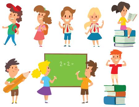 comedor escolar: niños de la escuela grupo de estudio juntos, felices educación primaria vector de caracteres que van infancia. niños de la escuela la educación y los niños felices estudian en la escuela primaria. niños de la escuela en el aula de preescolar.