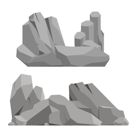 granite: Stones and rocks in cartoon style big building mineral pile. Boulder natural rocks and stones granite rough. Vector illustration rocks and stones nature boulder geology gray cartoon material. Illustration