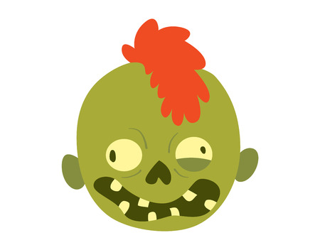 cruel: Zombie head cartoon monster character scary flat vector illustration. Zombie head smile spooky man. Portraip of cartoon moster zombie vector. Halloween kids style image of zombie hand Illustration