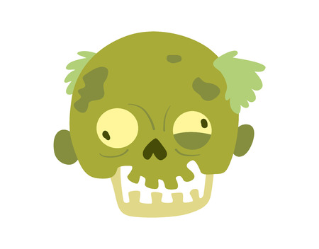 body part: Colorful zombie scary cartoon character and magic people body part cartoon fun. Cute green cartoon zombie character part of body monster vector illustration. Horror zombie people isolated
