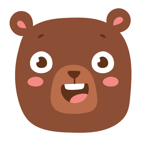 emotion expression: Cute animal bear head emotion vector avatar. Cartoon happy bear animal emotion expression isolated face character. Adorable mammal emojji avatar animal emotions. Animal bear character Illustration