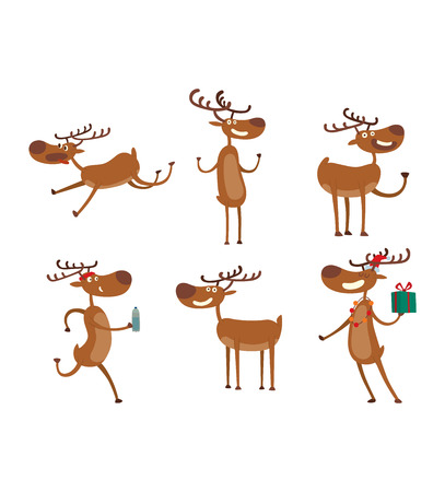 white tail deer: Cute deer cartoon comic wild vector character. Vector wild mammal cartoon deer humor mascot. Elk antler holiday symbol stag nature cartoon deer forest animal character.