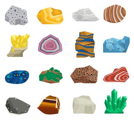 半貴重な宝石石、鉱物石に孤立した白い背景のコレクションを設定します。カラフルな光沢のある宝石です。ミネラル石ジュエリー素材瑪瑙鉱物石  イラスト・ベクター素材