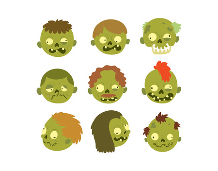 maggot: Colorful zombie scary cartoon character and magic people body part cartoon fun. Cute green cartoon zombie character part of body monster vector illustration. Horror zombie people isolated