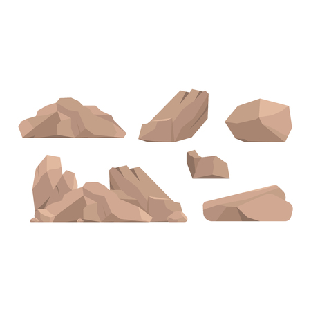 Stones and rocks in cartoon style big building mineral pile. Boulder natural rocks and stones granite rough. Vector illustration rocks and stones nature boulder geology gray cartoon material. 矢量图像