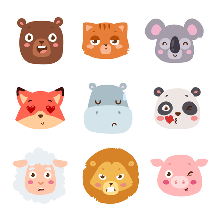 lion and lamb: Cute animal head with emotion vector avatar. Cartoon happy animal emotion expression isolated face character. Adorable mammal emojji avatar animal emotions. Animal character cute little style