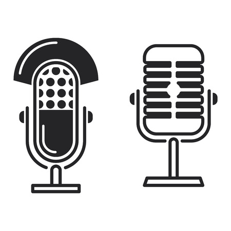 Microphone vector icon illustration isolated on white background. Vector microphone icon sign. Mike black icon, mike voice tool Ilustrace
