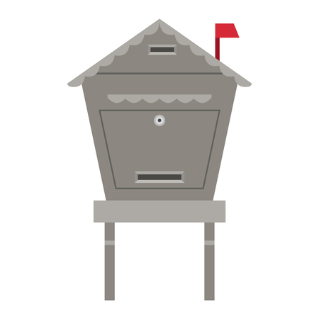 mail box: Beautiful rural curbside mailboxe vector illustration. Traditional communication empty postage post mail box. Letter message post mail box service correspondence.