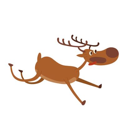 antler: Cute deer cartoon comic wild vector character. Vector wild mammal cartoon deer humor mascot. Elk antler holiday symbol stag nature cartoon deer forest animal character.