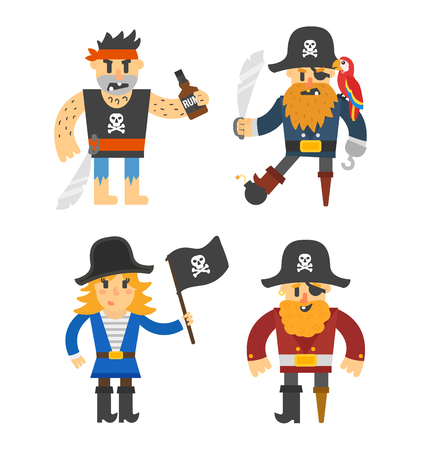 costume eye patch: Cartoon pirate vector character isolated on white. Cartoon pirate character with sword, hat, skull and monkey. Funny cartoon pirates happy sailor boy costume. Fantasy kid adventure sea treasure man. Illustration