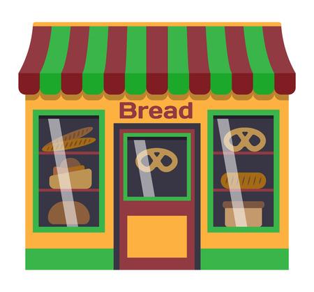 facade: Vector flat design shop facade isolated. Some shop facade isolated on white background. Bakery bread store store facade.