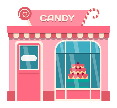 candy store: Vector flat design shop facade isolated. Some shop facade isolated on white background. Sweet candy shop store facade