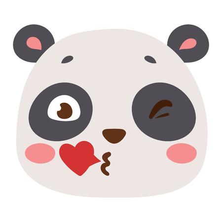 panda bear: Cute animal panda bear head emotion vector avatar. Cartoon happy panda bear animal emotion expression isolated face character. Adorable mammal emojji avatar animal emotions. Animal panda bear character