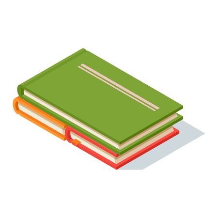 university text: Isometric book icon vector illustration in flat design style isolated on white. Academic book learning symbol, reading school sign. Knowledge reading design isolated science university text book cover information.