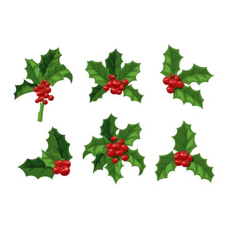 Europese kerstmis bessen hulst aquifolium bladeren en vruchten. Bloemen tak rode xmas winter decor kerst berry symbool. Vector decoratieve bessen blad hulst kerst traditionele ornament symbool.