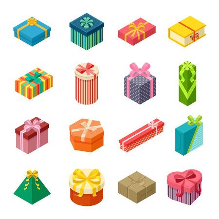 벡터 선물 상자 아이소 메트릭 뷰 골 판지 컨테이너 팩입니다. 선물 상자 카 톤 패키지 종이입니다. 선물 상자 축 하 휴일 아이소 메트릭 아이콘을 수신 일러스트