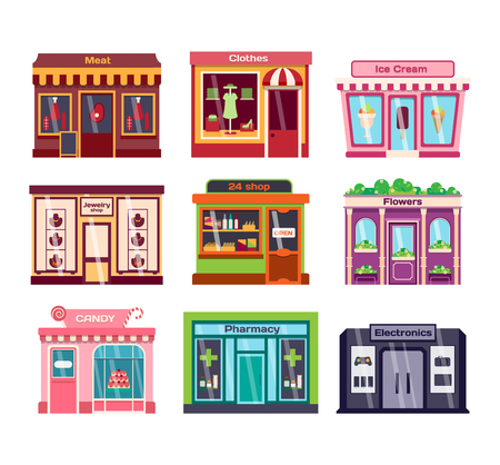Set of vector flat design restaurants and shops facade icons. Includes bakery, pharmacy, electronics store, ice cream shop, book shop facade, butcher shop, trendy clothing store, jewelry store facade. Vector Illustration
