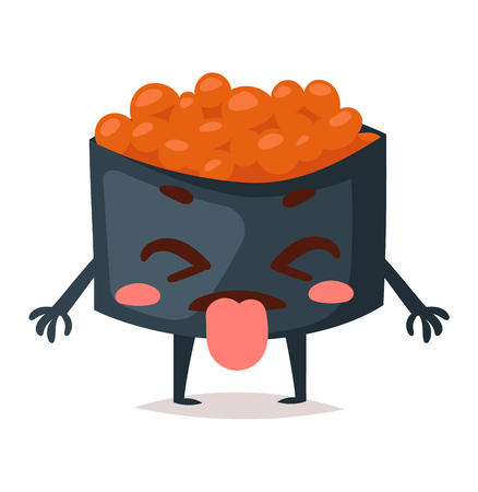 funny food: Fun sushi character vector isolated. Japaneseemotions sushi character food with cute face vector illustration. Japanese comic seafood cuisine sushi character funny food avatar emojji icon asian food Illustration